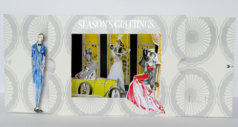 Harrods look-through Christmas greetings card