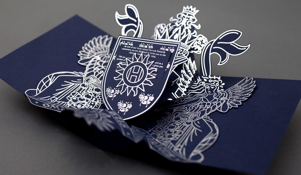 Harrods Pop-up invitation coat of arms