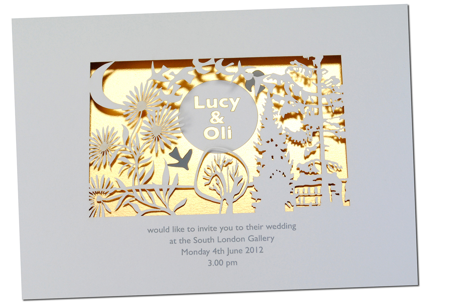 Paper cutout wedding invitation