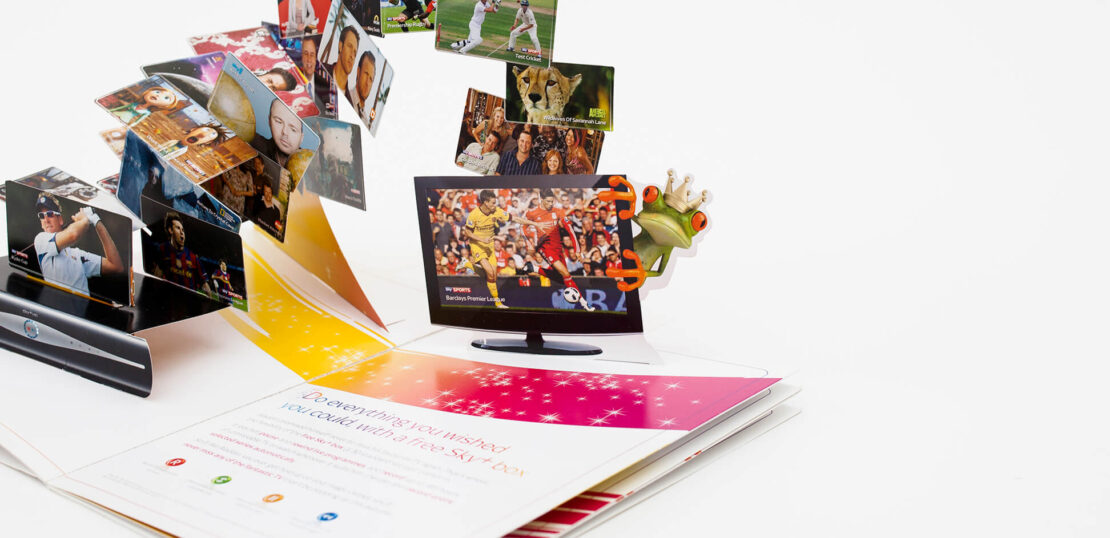 Colourful pop up brochure featuring 3D screens