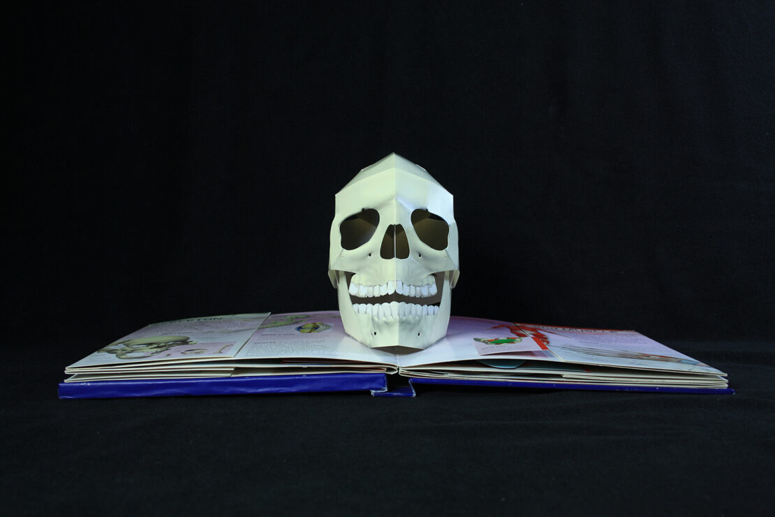Pop up paper skull page