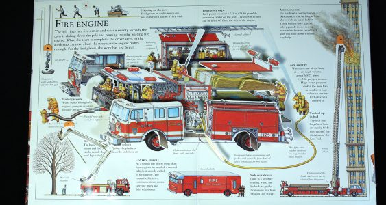 Pop-up cross section of a fire engine and firefighters
