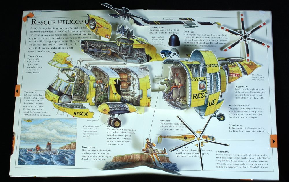 Pop up cross section of a helicopter