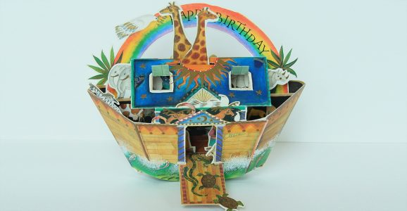 Pop up 3d Noah's Ark birthday card