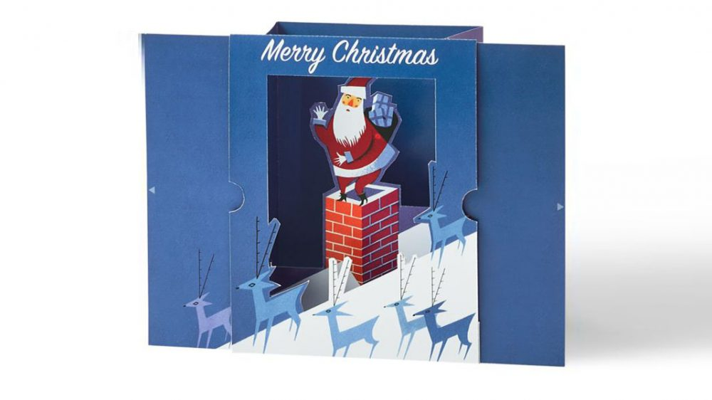 rooftop santa pop-up card