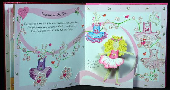 Rosebud pop-up book page with Rosebud dancing