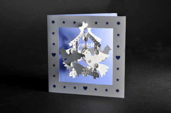 Pop-up Christmas cards (four calling birds)
