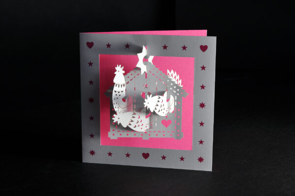 Pop-up Christmas cards (three hens)