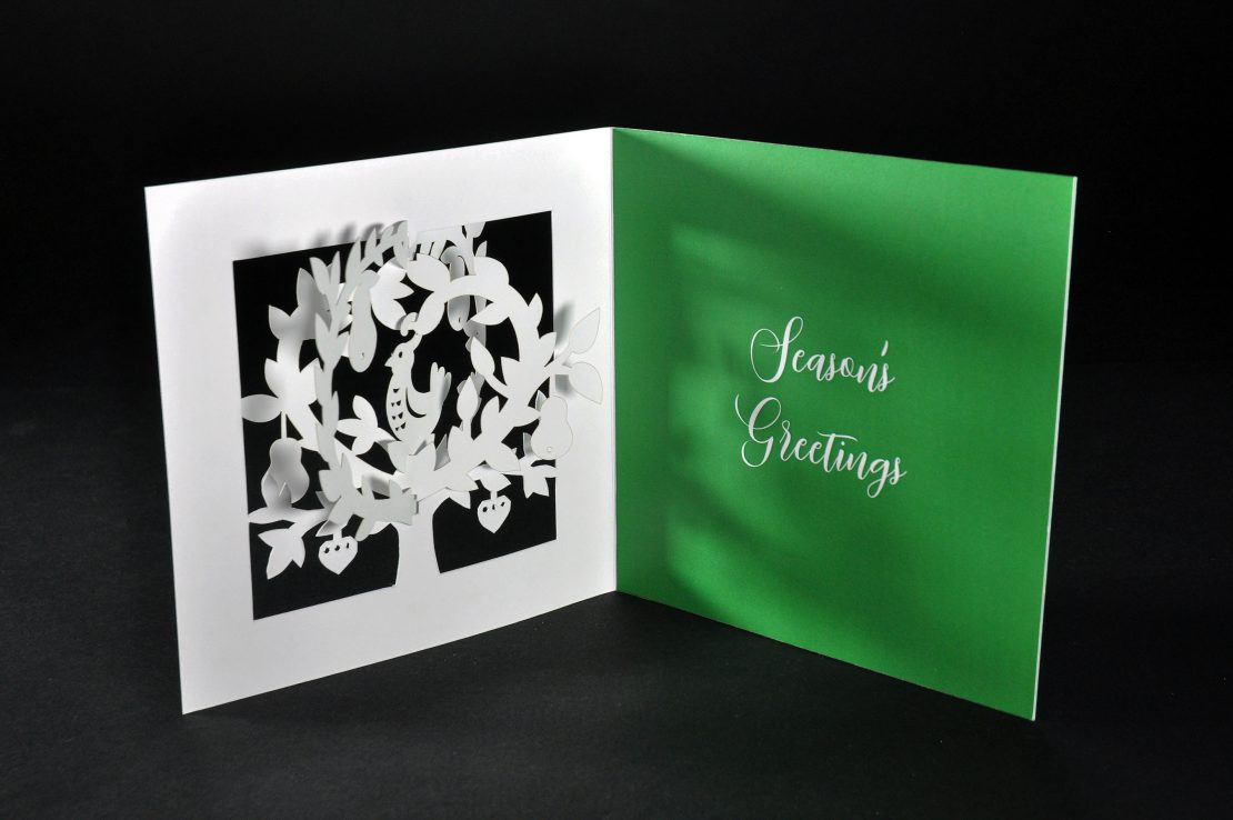 3d laser-cut christmas card back
